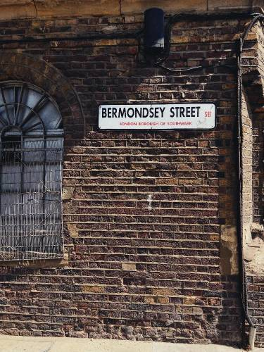 Bermondsey Street, London road sign