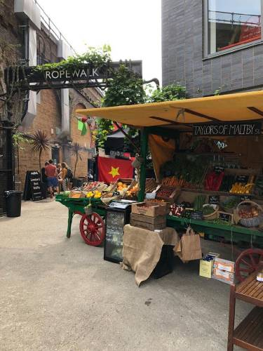 Stall at Maltby Street Market in London
