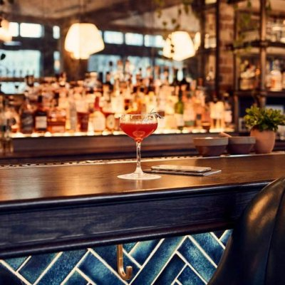 Cocktail sitting on the bar