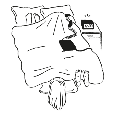 Illustration of someone in bed on the phone