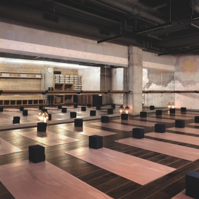 Empty wellness studio with yoga mats laid out in Chicago hotel