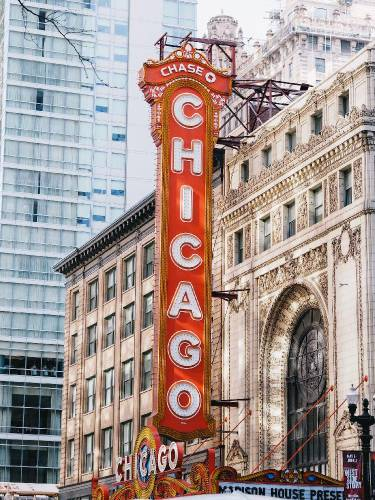 Big red Chicago sign outside a theatre