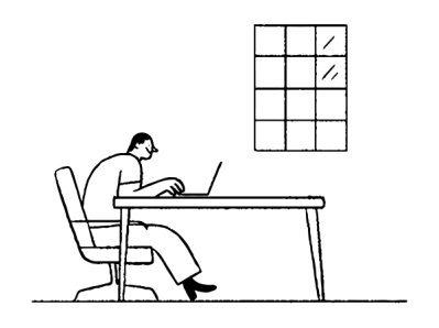 Illustration of a man sitting at a desk using a laptop