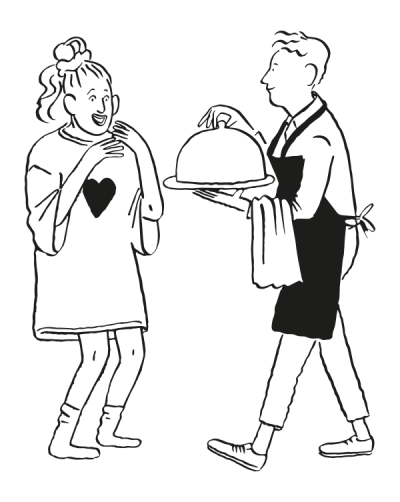 Illustration of men offering food to woman