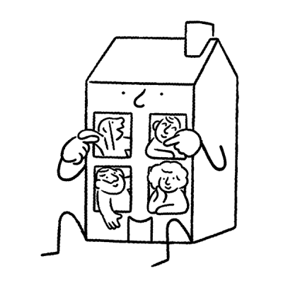 Illustration of a house with happy people in it