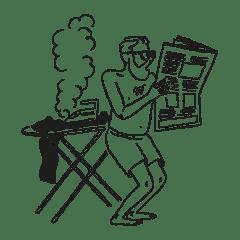 Illustration of man reading newspaper