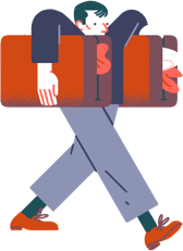 Illustration of person carrying suitcases