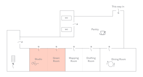 Studio + Green Room Plan