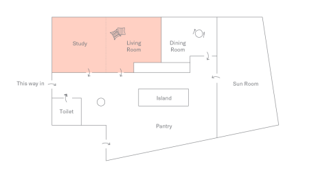 Floor plan of DTLA Apartment: Study and Living Room