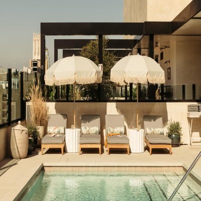 Rooftop pool in the LA hotel